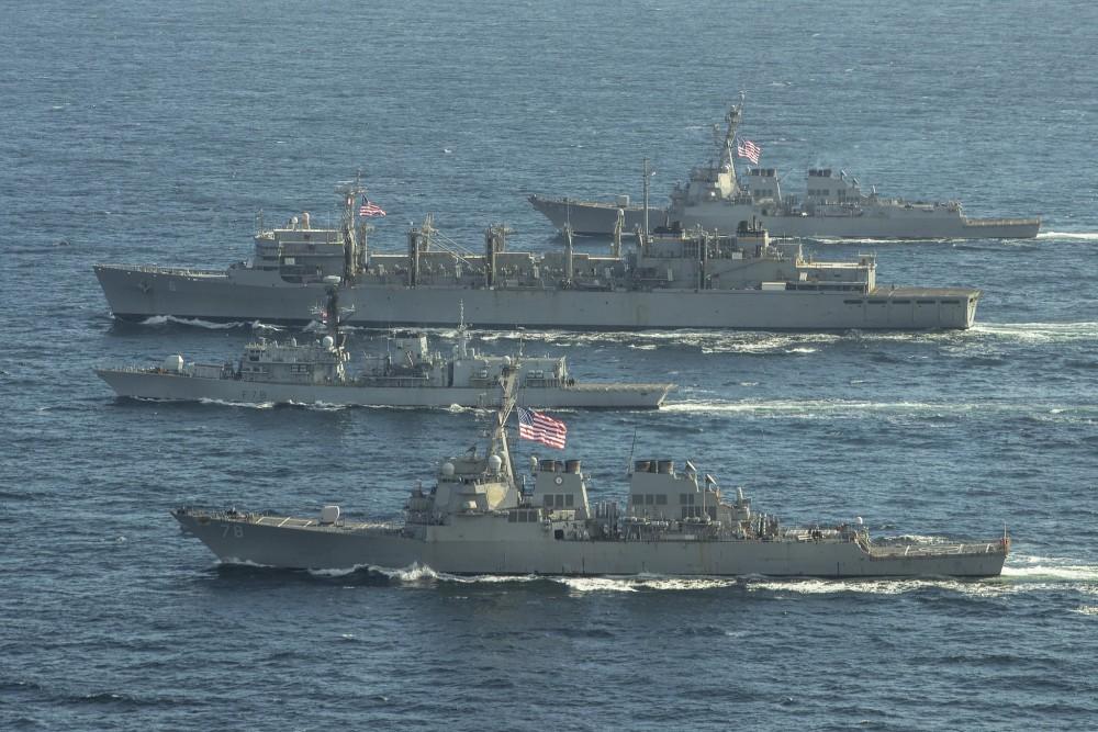 US Navy ships USS Porter, USS Roosevelt, USS Supply (6) in Barents Sea.